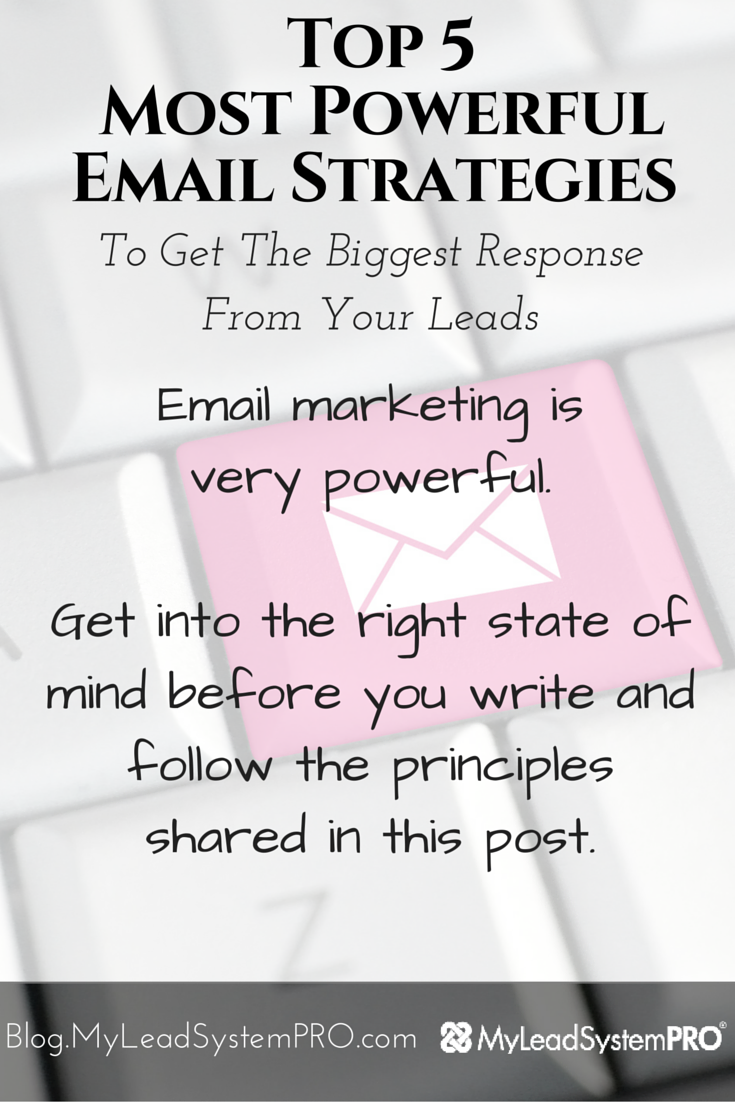 One of the most important things when it comes to building your online biz is generating leads! The question is – how do you follow up with your leads via email and get the results you want? Learn The Top 5 Most Powerful Email Strategies To Get The Biggest Response From Your Leads