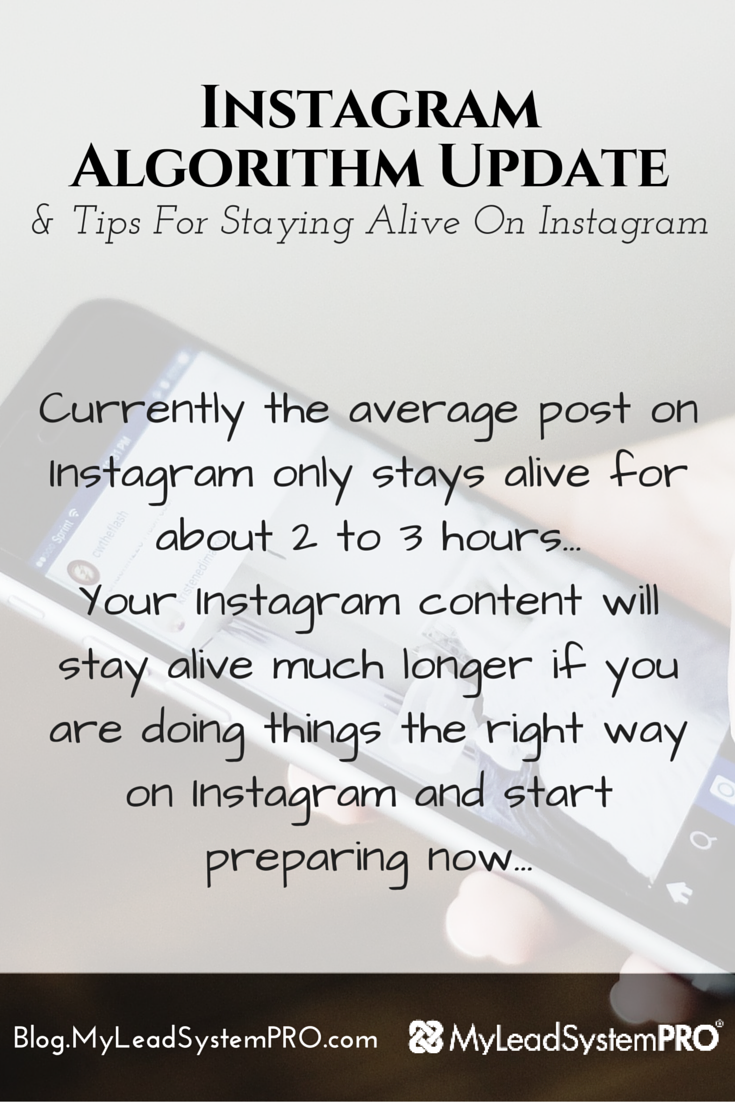 Did you know that Instagram is doing an algorithm update that may very well affect if people see YOUR posts. Remember when Facebook did this a while back? Everyone was in a huge uproar about what to do. However, this time you've got the chance to be prepared. Learn How to Stay Alive on Instagram When the New Algorithm Updates Roll Out!
