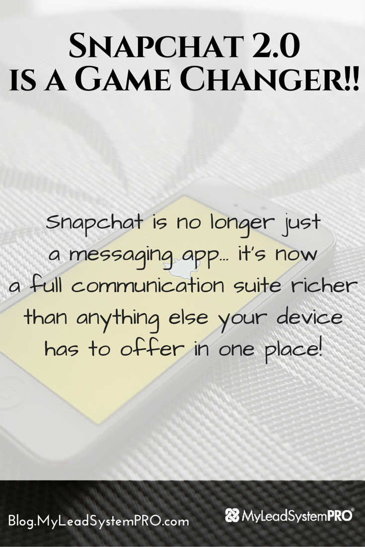 Snapchat has figured out how to pull all human communication into a single interface — video, audio, text, symbols and, drawing. Instead of having to choose how you want to connect before you start, conversations can evolve on the fly... GAME CHANGER!! This 13-minute video blog explains why YOU need to start leveraging Snapchat's massive power.