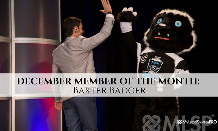 DECEMBER MEMBER OF THE MONTH: Baxter Badger