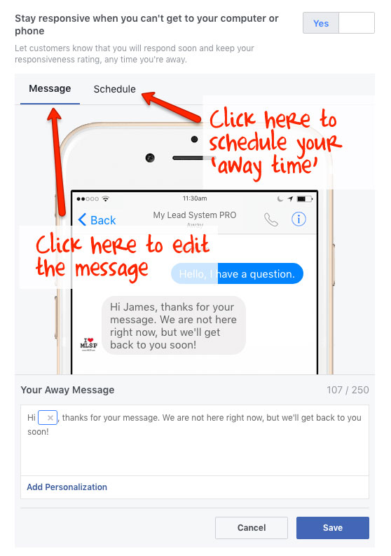 Messenger Auto Reply - Stay responsive when you can't get to your computer or phone