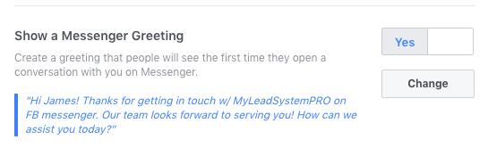 FB Messenger Auto-Reply - Show a Messenger Greeting