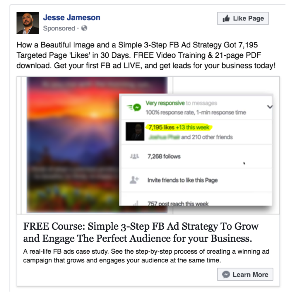 Facebook Messenger Ad Example