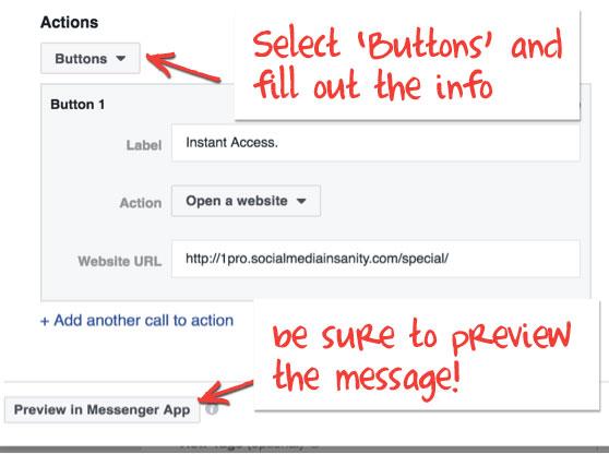 Facebook Messenger Ad Action