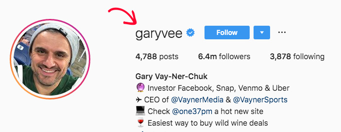 For example, Gary Vaynerchuk uses his 'personal brand name' for his instagram handle. 'garyvee'