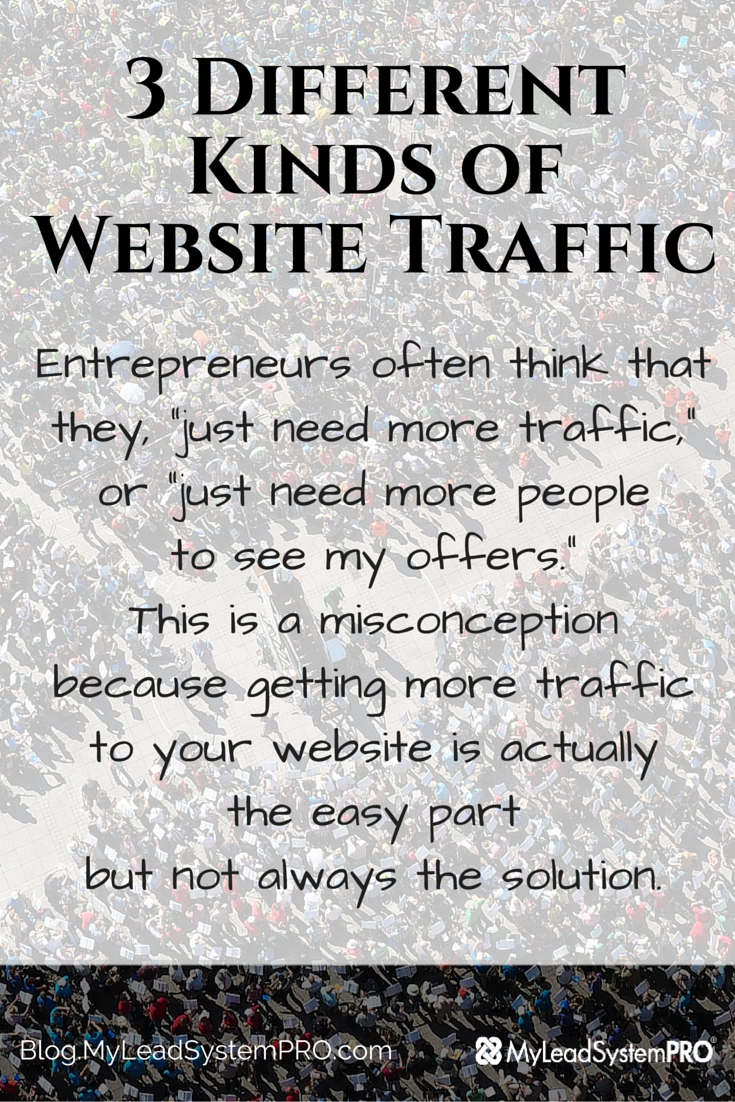"There really are no traffic problems there are only ""offer problems."" Your offers to the people who are coming to your website need to be congruent with their wants, needs, and problems and offer a valuable solution in order for your online business to work. Check out these 3 different kinds of website traffic and which kind of traffic will produce sales."