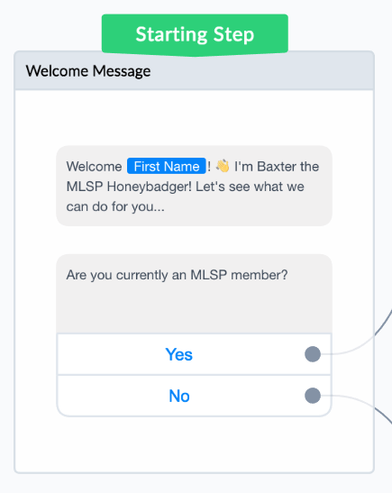 The initial message in our welcome message flow