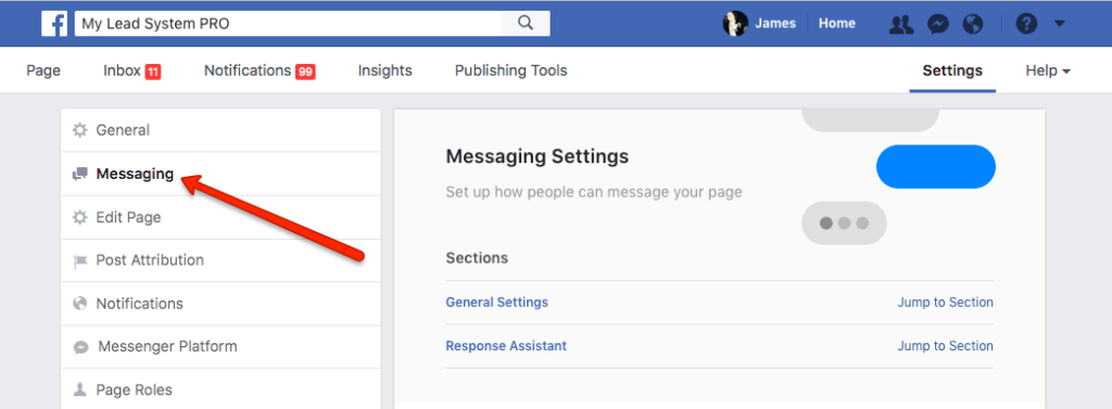 Facebook Messenger auto reply settings - click messaging