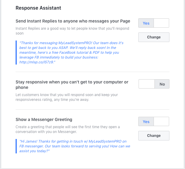 Facebook Messenger auto reply settings - Response Assistant