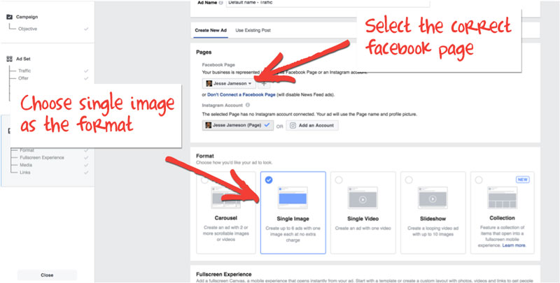Facebook Messenger Ads - Select fanpage and single image