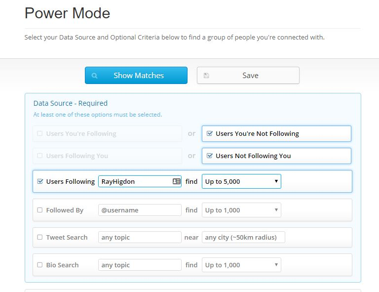 Manage Flitter - Select Data Source