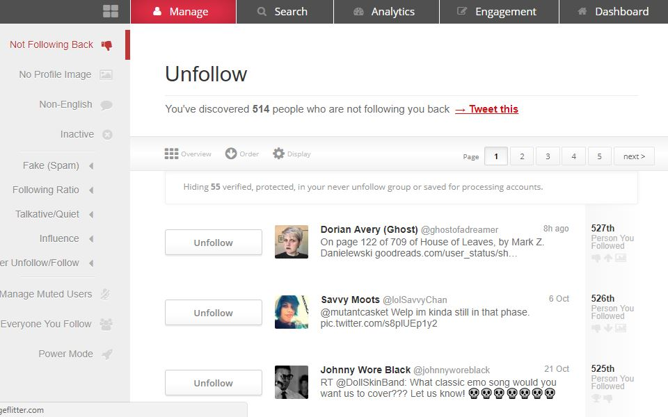 Manage Flitter - Unfollow