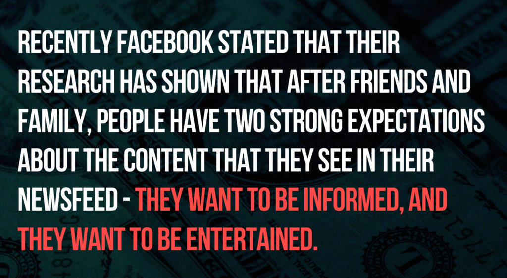 Facebook Users want to be Informed and Entertained
