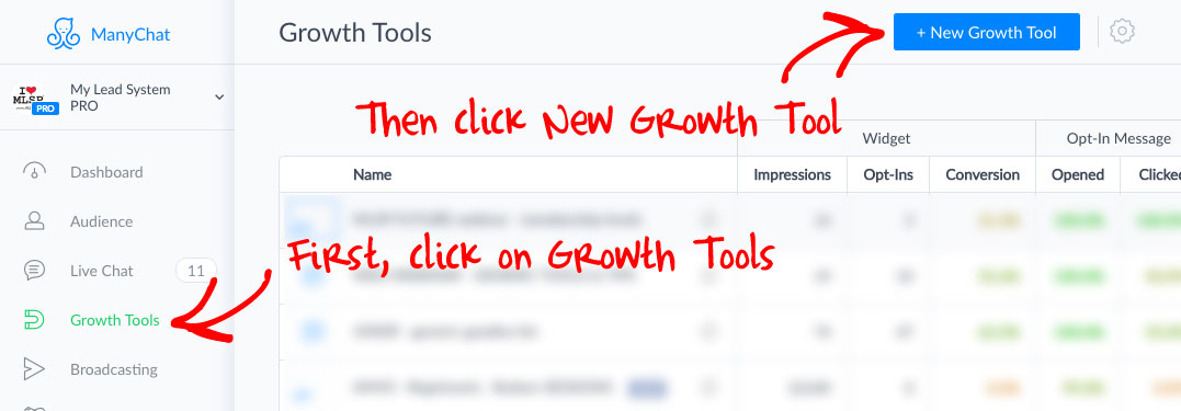 Add a New Growth Tool in Manychat
