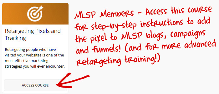 Facebook Retargeting Pixels for MLSP Members