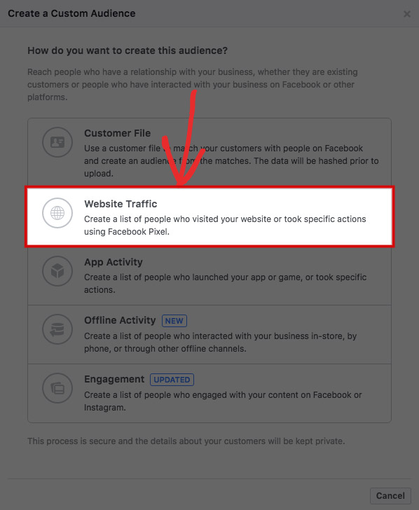 Facebook Ads Manager Website Traffic