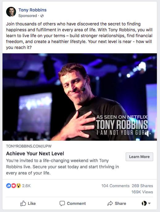 Tony Robbins Retargeting