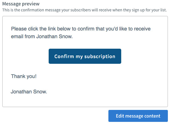 Example of an editable 'confirm optin' email from Aweber