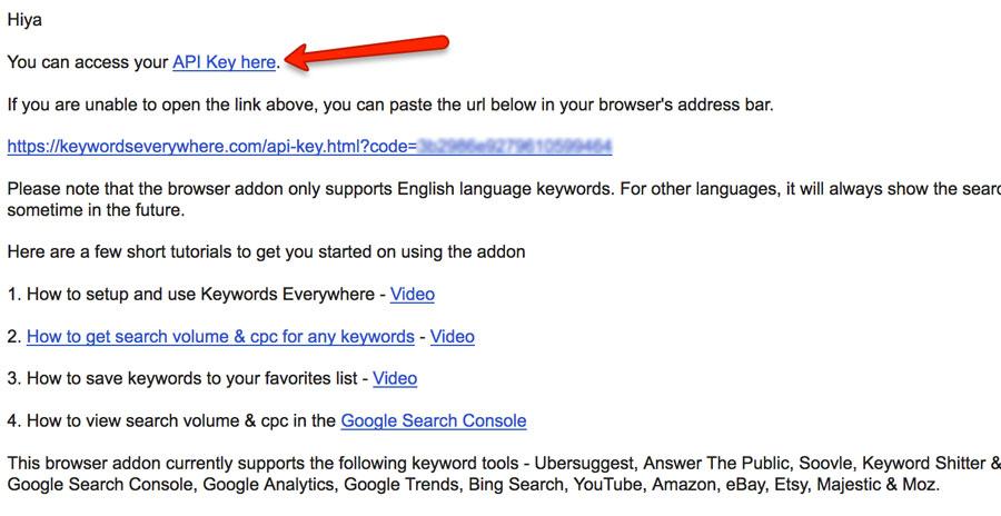 Keywords Everywhere Email