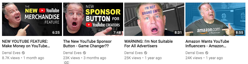 Examples of Youtube Thumbnails