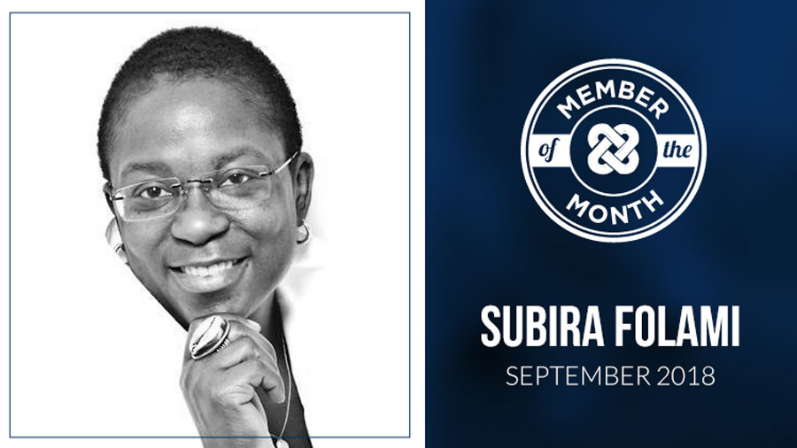 SEPTEMBER MEMBER OF THE MONTH: Subira Folami