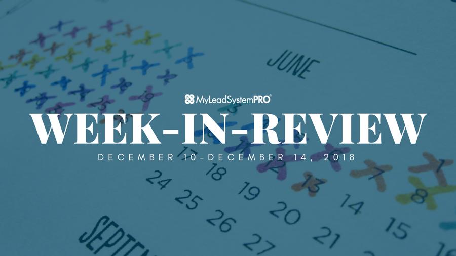 MLSP Week-in-Review: December 10, 2018