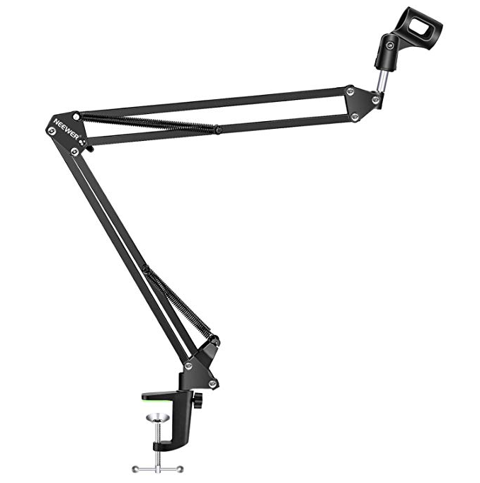 Roll over image to zoom in NEEWER Adjustable Microphone Suspension Boom Scissor Arm Stand, Max Load 1 KG Compact Mic Stand Made of Durable Steel for Radio Broadcasting Studio, Voice-Over Sound Studio, Stages, and TV Stations