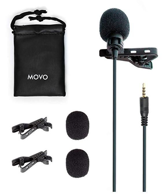 Movo PM10 Professional Lavalier Lapel Clip-on Omnidirectional Microphone for iOS iPhone, iPad, iPod Touch and Android Samsung Smartphone/Tablet for Recording Podcast, Vlog, Interview, YouTube, ASMR