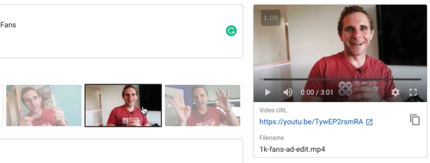 Youtube default frame thumbnail