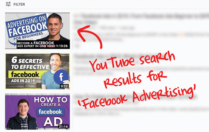Youtube search results for 'Facebook Advertising'