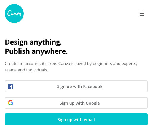 Signup for Canva