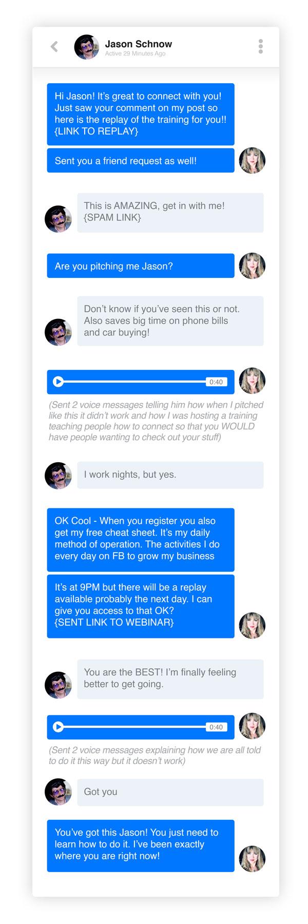 spam message conversation